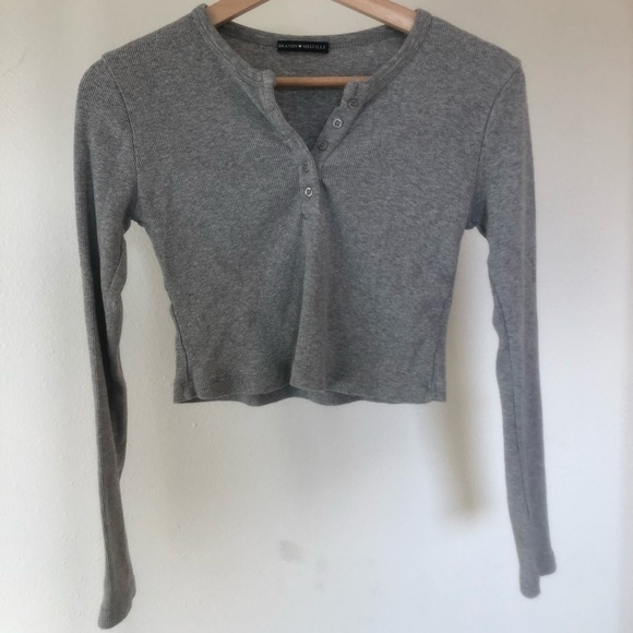 Brandy Melville Tops - grey button up long sleeve